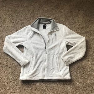 FURRY WHITE NORTH FACE JACKET